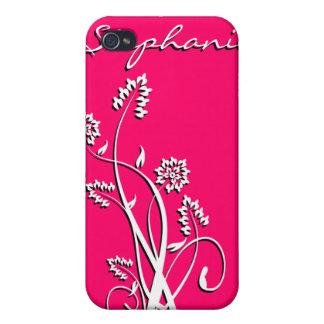 Caja personalizada floral negra y blanca de IPhone iPhone 4/4S Fundas