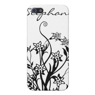 Caja personalizada floral negra y blanca de IPhone iPhone 5 Cobertura