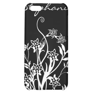 Caja personalizada floral negra y blanca de IPhone