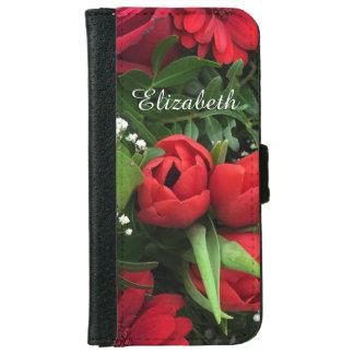 Caja personalizada flores rojas de la cartera de funda cartera para iPhone 6