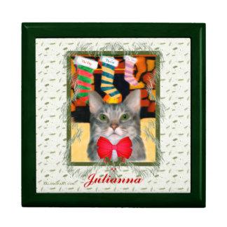 Caja personalizada gato de la baratija del navidad joyero cuadrado grande