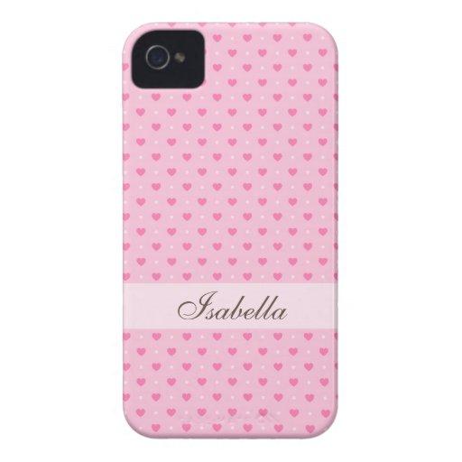 Caja personalizada lunares rosados del iPhone 4 de iPhone 4 Cobertura