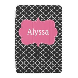Caja personalizada Quatrefoil rosada negra Cover De iPad Mini