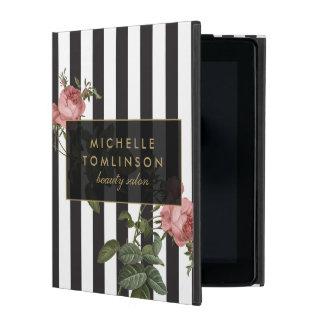 Caja personalizada rayada floral del iPad del