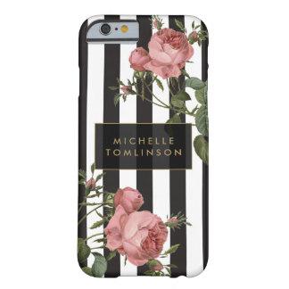 Caja personalizada rayada floral del iPhone del Funda Barely There iPhone 6