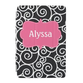 Caja personalizada remolino rosado negro cover de iPad mini