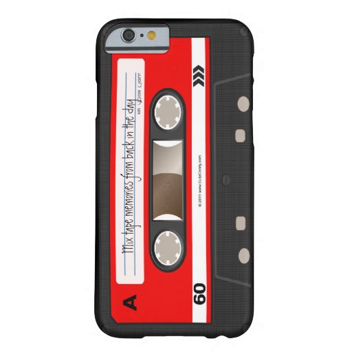 Caja personalizada retra roja de la cinta de funda de iPhone 6 barely there