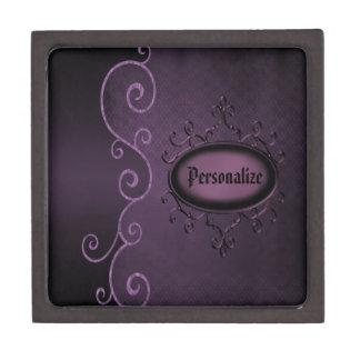 Caja personalizada vintage púrpura gótico de la ba caja de joyas de calidad
