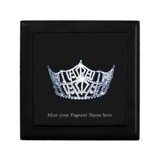 Caja Plata-Azul de la baratija de la corona del Joyero Cuadrado Pequeño