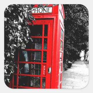 Caja postal roja de moda de Londres Calcomania Cuadradas Personalizadas