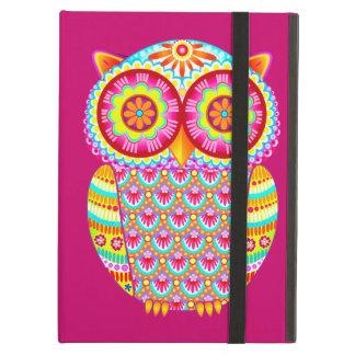 Caja psicodélica colorida del iPad del búho con