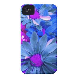 Caja púrpura azul del iPhone 4 de las margaritas d iPhone 4 Case-Mate Carcasa