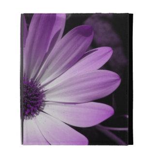 Caja púrpura de Ipad de la flor de la margarita