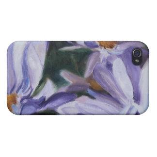 Caja púrpura de IPhone de las flores de los iPhone 4/4S Fundas
