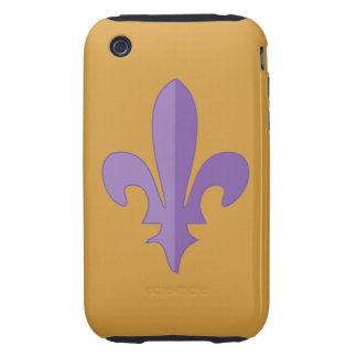 Caja púrpura de la casamata del oro de la flor de iPhone 3 tough protector