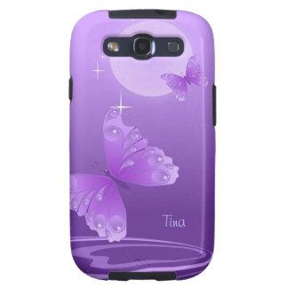 Caja púrpura de la galaxia de las mariposas galaxy s3 protector