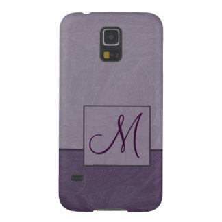 Caja púrpura de la galaxia de Samsung del monogram Fundas Para Galaxy S5