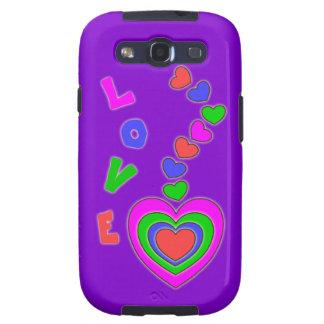 Caja púrpura de la galaxia S3 del corazón del mult Samsung Galaxy S3 Funda