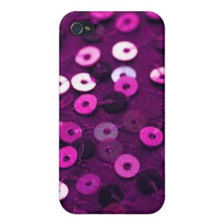 caja púrpura de la lentejuela del iPhone iPhone 4 Protectores
