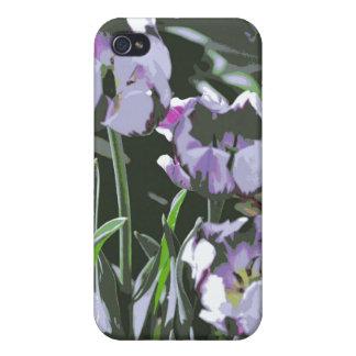 Caja púrpura de la mota de los tulipanes iPhone 4 cobertura
