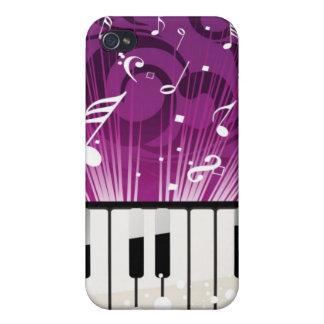 Caja púrpura de las notas musicales y de las llave iPhone 4 funda