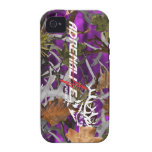 Caja púrpura de los alces del camuflaje de la búsq Case-Mate iPhone 4 carcasas
