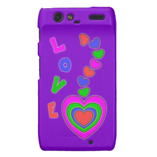 Caja púrpura de Motorola Droid RAZR de los corazon Motorola Droid RAZR Fundas
