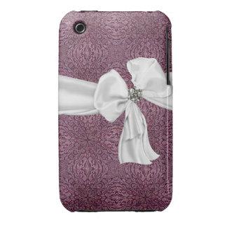 Caja púrpura, del blanco y de la piedra preciosa iPhone 3 funda