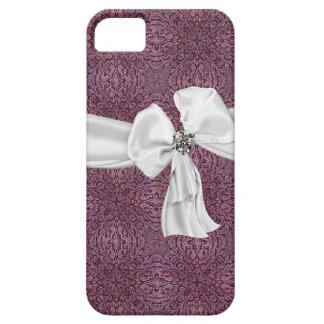 Caja púrpura, del blanco y de la piedra preciosa iPhone 5 fundas