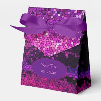 Caja púrpura del favor de fiesta del mosaico de cajas para detalles de boda
