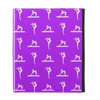 Caja púrpura del folio del iPad de la gimnasia