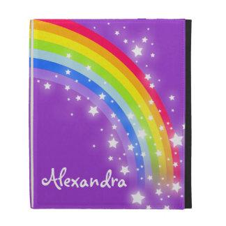 Caja púrpura del folio del ipad del arco iris cono