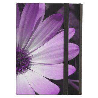 Caja púrpura del iPad de la flor de la margarita
