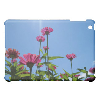 Caja púrpura del iPad de las margaritas