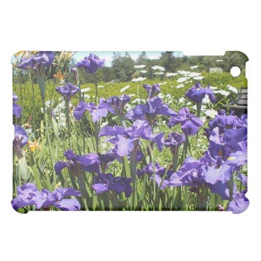 Caja púrpura del iPad del jardín del iris