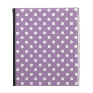 Caja púrpura del iPad del lunar de la violeta