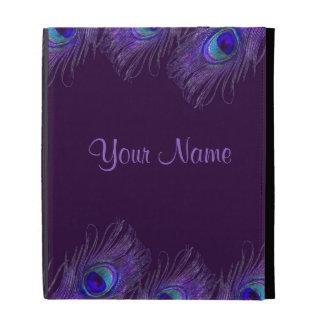 caja púrpura del ipad del pavo real