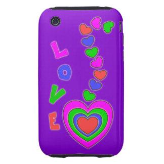Caja púrpura del iPhone 3 de los corazones del amo iPhone 3 Tough Cárcasa