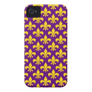 Caja púrpura del iPhone 4/4S de la flor de lis del iPhone 4 Protectores