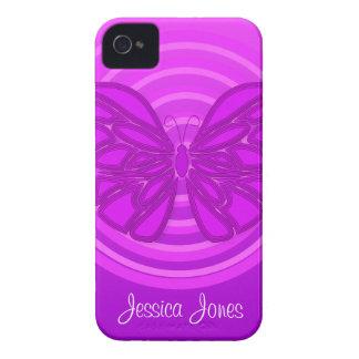 Caja púrpura del iPhone 4/4S de la mariposa iPhone 4 Cárcasa