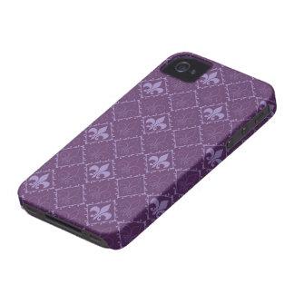 Caja púrpura del iphone 4 de la flor de lis apenas iPhone 4 cárcasa