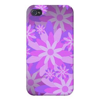 Caja púrpura del iPhone 4 de la flor iPhone 4 Protector