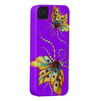 Caja púrpura del iPhone 4 de la mariposa increíble iPhone 4 Carcasas