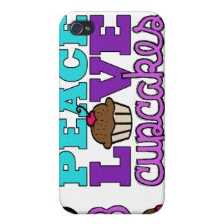 Caja púrpura del iPhone 4 de la paz, del amor y de iPhone 4 Protectores