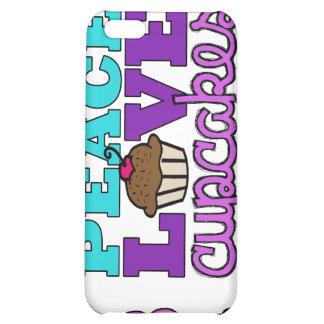 Caja púrpura del iPhone 4 de la paz, del amor y de