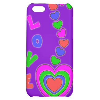 Caja púrpura del iPhone 4 de los corazones del amo