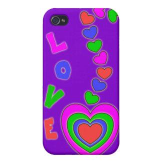 Caja púrpura del iPhone 4 de los corazones del amo iPhone 4/4S Carcasa