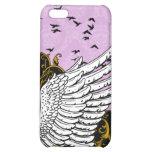 Caja púrpura del iPhone 4 del damasco del ala del
