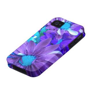 Caja púrpura del iPhone 4 del ramo de la turquesa  iPhone 4/4S Fundas