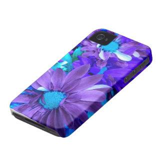 Caja púrpura del iPhone 4 del ramo de la turquesa  Case-Mate iPhone 4 Carcasa